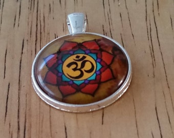 1 - Silver - Glass Cabochon - Pendant - Necklace - OM - The Size is 36mm x 28mm