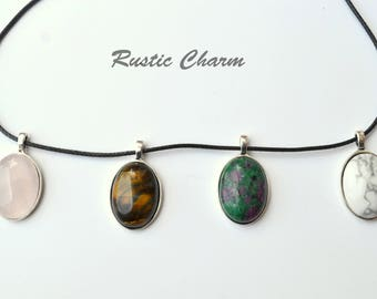 Tiger eye, Ruby in Fuchite, Howlite or Pink Quartz Cabochon Style Pendant Necklace