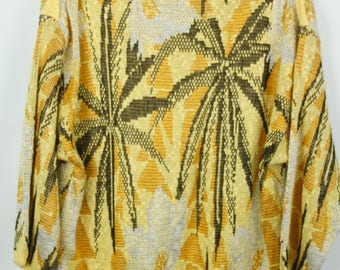 Vintage Sweater, Vintage Knit Pullover, Palm tree, 80s, 90s, oversized look
