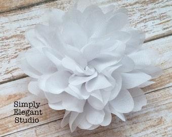 "WHITE- Chiffon Flowers, 3.75"" Fabric Flowers, Baby Headband Flowers, Craft Supply Flowers"