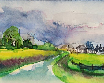 Original watercolor of a countryside landscape in France with fields of rape-original painting of a landscape with fields of houses
