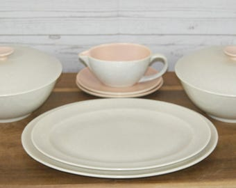 Vintage 1960s Poole Peach Bloom & Seagull C97 Twintone 2 x Casseroles, 2 x Platters and Cream Jug or Gravy Boat with Saucer
