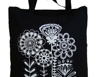 "Jute bag ""Folklore Flowers"", white on black, screen printing, flowers, cotton"