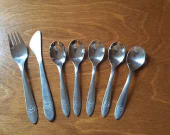 Mid century modern Lufthansa logo flatware set of SEVEN (7) pieces knife fork spoons Made in Germany