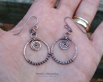 Hoop Earrings Wire Wrapped Oxidized Copper Handcrafted Spiral Hoop Earrings Antiqued One Of A Kind Artisan Jewelry