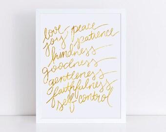Fruit of the spirit gold foil print