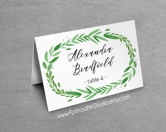 Wedding tent place cards - Greenery place cards - Wedding name cards - Personalised seating cards - botanical tent place cards seating cards