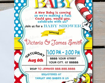 Dr Seuss Baby Shower Invitations,One Fish Two Fish Baby,Red and Blue,Cat in hat baby shower Invitations,Printed or Digital File*FREE SHIP