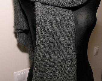 Handmade knitted very soft big scarf,gray knitted scarf,weightless warm unisex scarf,woollen scarf,woolen gift