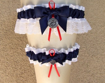 Custom Military Garter Set in Red Navy White Ivory / Usmc Marine Corps Marines Army Usaf Air Force Coast Guard Soldier Airman Sailor Wife