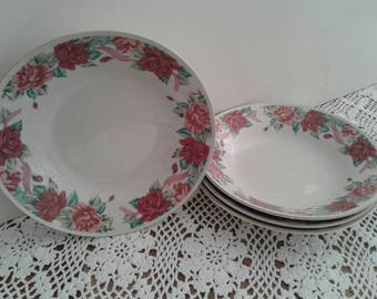 Rose Garden plates (4 pc), for soup or for serving