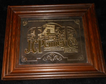 1973 J.C.Penney Lucid Lines Acid Etched Mirror Wall Hanging in Wood Frame