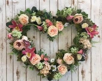 wedding gift, i love you gift, mothersday gift, heart wreath