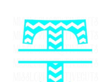 Chevron Letter split letter monogram  T SVG Cut file  Cricut explore filescrapbook vinyl decal wood sign t shirt cricut cameo