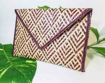 Foldover clutch / Envelope Clutch / Straw purse / Gift for her / Everyday clutch bag / Handmade purse