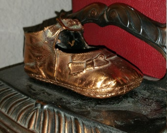 Vintage,Adorable,Bronzed Baby Girl Shoe Bookends,Baby Shoe bookends,bronzed baby shoe bookends,gift for baby,baby shower gift