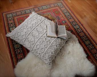 macrame, modern macrame floor pillow, macrame floor cushion, bohemian decor, boho home decor, boho bedroom decor, decorative pillow