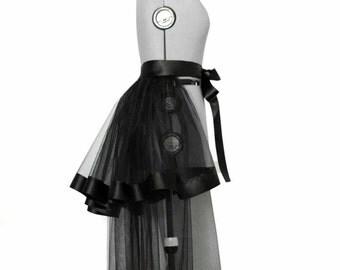 Black tulle bustle overskirt Detachable skirt Bridal train Prom dress Wedding skirt  Transparent skirt Ball gown separate Custom skirt Tail