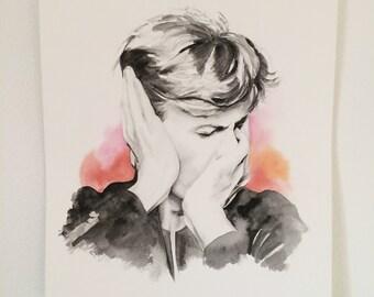 "Original 9 1/2""x11"" David Bowie watercolor painting"