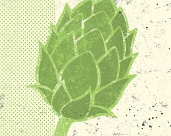 """Beer Art, Beer Print, Brewery Art, """"Hop"""""""