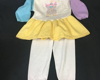 Vintage Girls Outfit, Clown Print, Color Blocks, Tunic and Leggings, Size 24 2T, Buster Brown, 1980's Baby Clothes, Vintage Baby Clothes