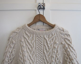 Vintage Cream Cable Knit Wool Fisherman's Sweater, Women's Large, Homemade, Cable Knit, Wool, Small, Cream, Fisherman, Pull Over