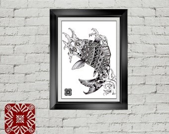Ornate Mandala Koi Fish Drawing Illustration - PRINT