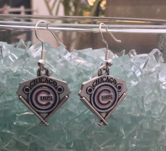Chicago Cubs, Antique Silver Enameled Earrings