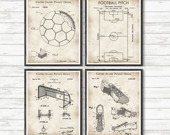 Soccer, Soccer Patent, Soccer coach gift, Set of 4 Prints, Soccer Gifts, Sports Decor, Soccer team gift, Sport patent, Soccer party #P352