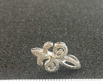 Sterling Silver Fleur De Lis Pendant With Cystals