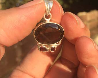Sterling silver pendant with smoky quartz and Garnet