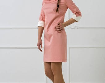 Pink Cotton Dress by TAVROVSKA, Semi Fitted Dress, Pure Silk Collar, Classic White Collar