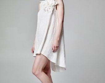 White Dress, Linen Dress, Short Wedding Dress, Asymmetric Dress, Short White Dress, Linen Bridal Dress, Summer Dress, Summer Clothing, Dress