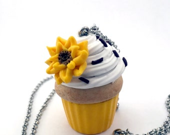 Yellow Sunflower Cupcake chain necklace. Long chain muffin small charm party beach pool casual fun sunny pendant