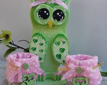 Wooden Owl Set-Owl Nursery Set-Wooden Owl u0026 Desk Set-Green Owl nursery  set-Pretty Green owl gift-baby girl owl-Owl Gifts-Girls Room