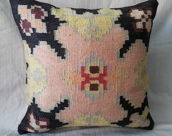 "Kilim Pillow, 1'5""1'5"" Feet 45×45cm Decorative Kilim Pillow, Cushion Cover, Decorative Pillow, Home Decor, Tribal, Turkish, Anatolian, Bohem"