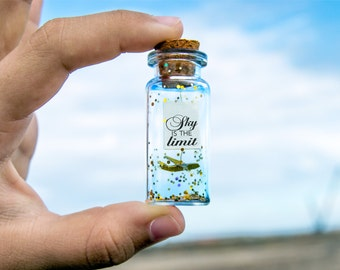 Sky is the limit. No limits. you can do it! Motivational gift. Origami plane. Paper plane. Message in a bottle.