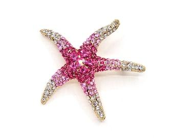 Pink Starfish Brooch, Pink Gold Crystal Starfish, Beach Wedding Accessories, Starfish Broach