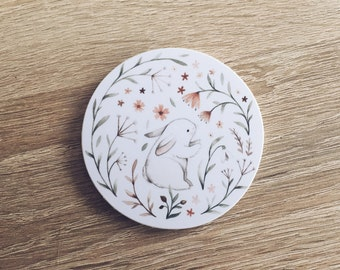 Floral Bunny Wooden Magnet - Cute decoration for a magnet board/fridge etc.