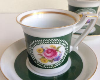 Set of 2 Demitasse Espresso Cups and Saucers Germany