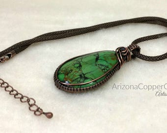 Wire Weave Pendant, Mohave Green Turquoise, Kingman Turquoise, Copper Wire Jewelry, Mother's Day, Pendant, ArizonaCopperCraft, FREE SHIPPING