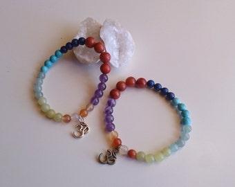 Bracelet chakras / Spiritual Balance Bracelet / Om Symbol Bracelet / Energy Bracelet / Yoga bracelet semi-precious stones.Zen.Gemoterapia