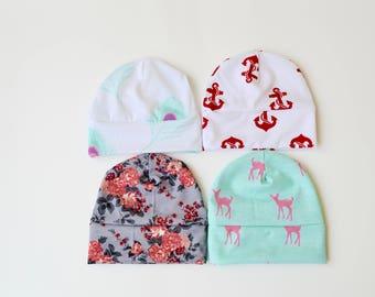SALE --- Beanie hat, Cotton Knit Baby Hat, Newborn Baby Hat, Girl Hat,  Baby Gift