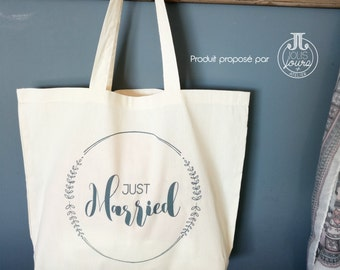 "Cotton Tote Bag XL marriage ""Just Married"""