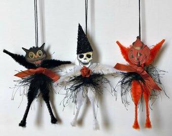 Halloween Ornament, Chenille Stem Decoration, Halloween Characters