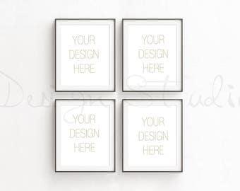 Set of four Vertical frame Mockup, Styled Stock Photography, Product Background Mockup ,minimalist black frame mockup