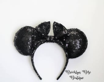 Black Sequin Mickey Minnie Mouse Ears Headband