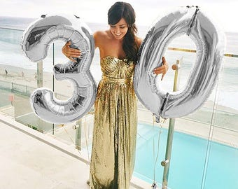 "30 Number Balloons | 40"" Silver Number Balloons 