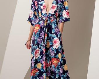 Sewing Pattern for Misses DEEP-V KIMONO-Style Dresses, Vogue Pattern 9253, Womens Dress Pattern, Very Easy, Caftan, Plus Sizes Avail, Kimono