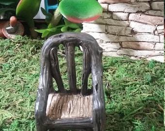 Fairy Garden Miniature Resin Chair for your Fairy Garden, Wood Look Chair, Fairy Furniture, Dollhouse, Terrarium, Rustic Garden Chair